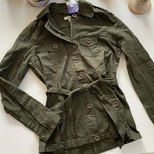 Olive army green cargo belted jacket